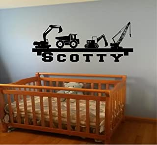FLASH sale Boy's room Wall Shelf name construction Crane dump truck equipment diy wall art decor decal Our Popular Design decal