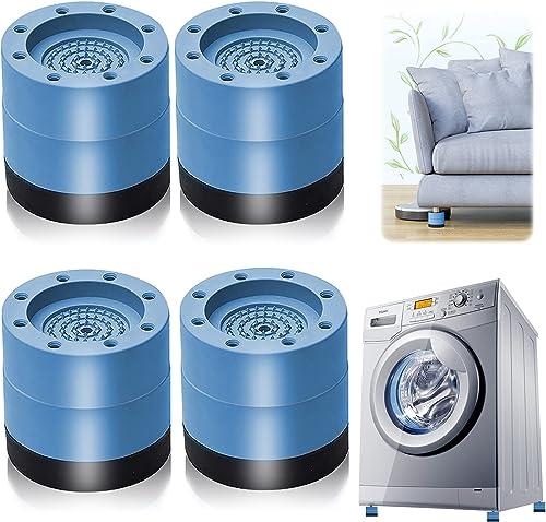 Patins Anti Vibration, 4 Pièces Pieds en Caoutchouc pour Machine à Laver Coussinets Pied de Machine à Laver Tampon An...