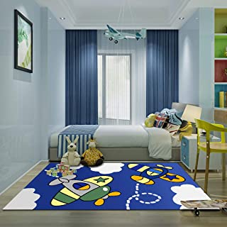 Kid Bedroom Rug, 4'x 6' YAMTION Boys and Girls Area Rug, Large Blue and White Soft Children Carpet, Non Slip Indoor Airplane Cartoon Rugs for Living Room, Playroom, Classroom, Nursery and Dormitory