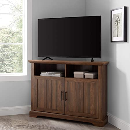 Amazon Com Benjara Rustic Wooden Corner Tv Stand With Two Door Cabinet White And Brown Furniture Decor