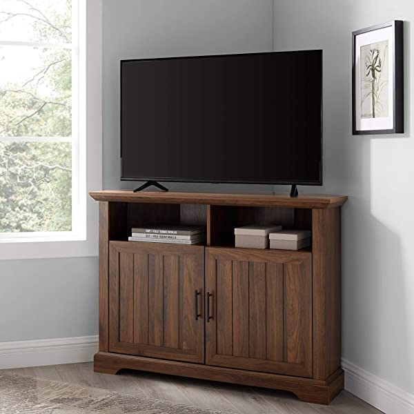 WE Furniture AZ44CMCR2DDW TV Stand 44 Dark Walnut