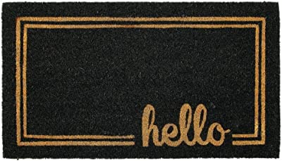 mDesign Rectangular Coir and Rubber Entryway Welcome Doormat with Natural Fibers for Indoor or Outdoor Use - Decorative Script Hello Design - Black/Natural