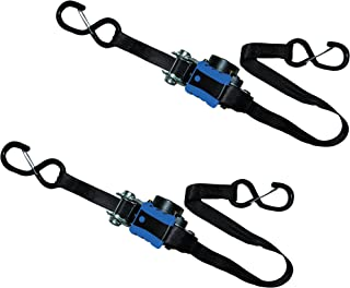 S-Line 95372 GP Retractable Ratchet Tie Down with Retraction Brake and Coated S-Hooks with Safety Clip, 1-Inch x 15-Foot
