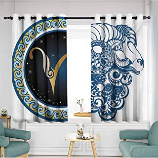 AndyTours Extra Wide Patio Door Curtain,Zodiac Astrological Aries Symbol with Horned Head Ram Goat Animal Terrestrial Event Image,Hipster Patterned,W55x39L,Multicolor