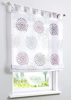 W x H 60 x 140 cm, Green 1 with Loops BAILEY JO Roman Blind with Circles Motif Print Design Roller Blinds Voile Transparent Curtain