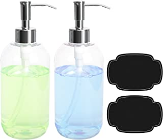 ULG Soap Dispensers Bottles 16oz Countertop Lotion Clear with Stainless Steel Pump Empty BPA Free Liquid Hand Soap Dispenser Boston Round Plastic Press Bottle 2 Piece