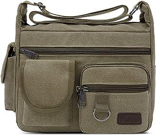 FANDARE Umhängetasche Schultertasche 7.9 inch iPad Tasche Unisex Vintage Canvas Messenger Tasche für Damen/Herren Grün