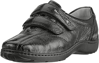 Waldlaufer 496301 Henni Black Leather Print Hook and Loop Shoes H/E Fit