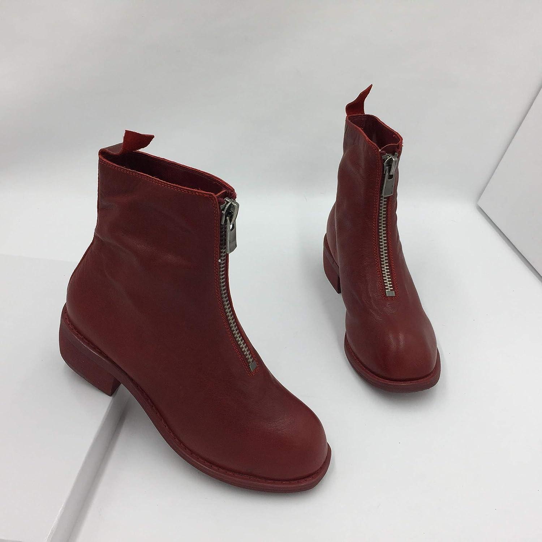 HOESCZS Damenschuhe Herbst Und Winter Einfache Moderne Stil Martin Stiefel Stiefel Rot Damen Stiefel Leder Frontzipper Martin Stiefel  | Primäre Qualität