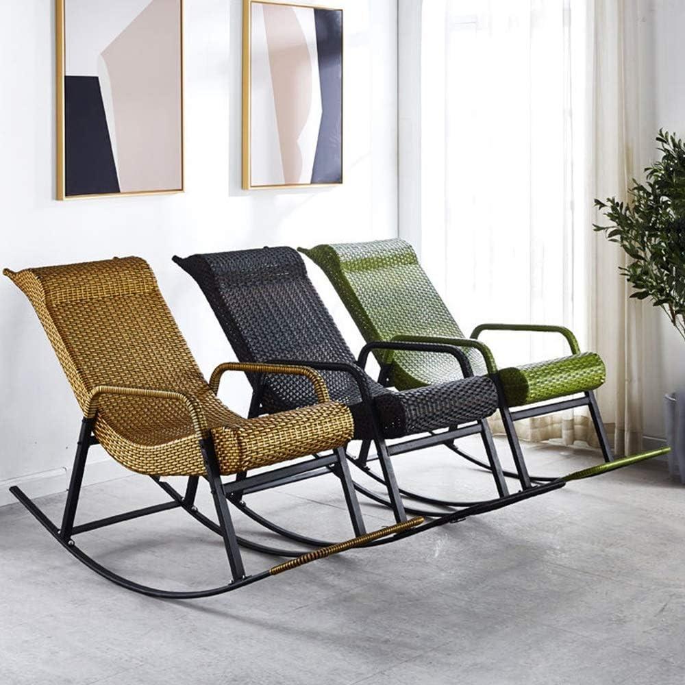 Chaise berçante avec accoudoirs et Dossier PE rotin imperméable Relaxant Fauteuil inclinable pour Salon, Patio et terrasse Green