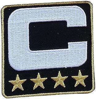 Black Captain C Patch (4 Gold Stars) Iron On for Jersey Football, Baseball. Soccer, Hockey, Lacrosse, Basketball