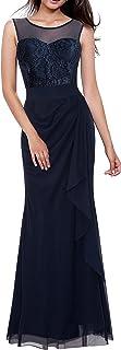 HOMEYEE Women's Elegant Lace Sleeveless Formal Maxi Dress A028