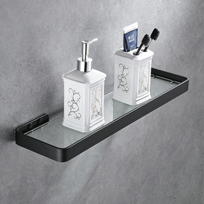ZHPRZD Space Aluminum Bathroom Single Shelf, Bathroom Bathroom Glass Black Shelf (Size   3  14  29cm (1  6  11inch))