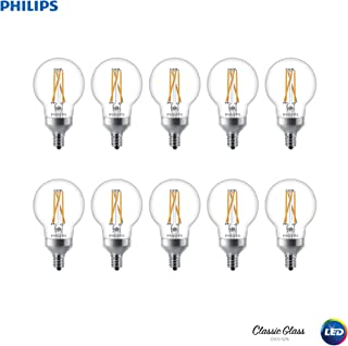 Philips 536714 LED Dimmable G16.5 Clear Filament Glass Light Bulb with Warm Glow Effect: 250-Lumens, 2700-2200 Kelvin, 3 (25-Watt Equivalent), Sot White, E12 Candelabra Base, 10 Pack, 10 Piece