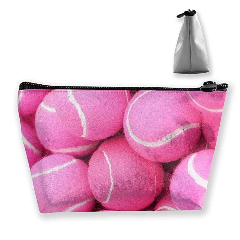 pengyong Bright Pink Tennis Balls Makeup Bag Large Trapezoidal Storage Travel Bag Wash Cosmetic Pouch Pencil Holder Zipper Waterproof