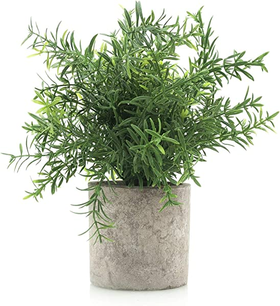 Velener Mini Potted Plastic Fake Green Plant For Home Decor Bamboo Leaves