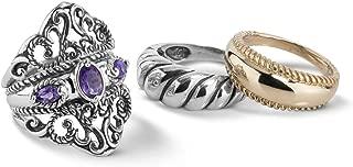 Sterling Silver and Brass Purple Amethyst or Rhodolite Garnet Gemstone Guard Ring Set Size 5 to 10