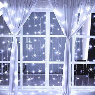 Hopolon 304 LED Window Curtain Lights, 8 Modes Plug in Twinkle Fairy Lights, Outdoor Indoor String Lights Wedding Party Home Garden Bedroom Wall Decorations,UL Certified 9.8ft×9.8ft (Cool White)