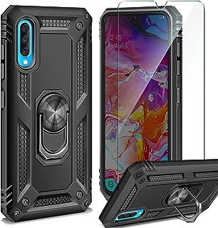 comprar comparacion AROYI Funda Samsung Galaxy A70 + Cristal Templado, 360 Anillo iman Soporte, Hard PC y Silicona TPU Bumper antigolpes Case ...