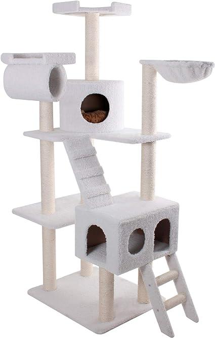 Majestic Pet Products 73 Inch Cream Bungalow Cat Furniture Condo House Scratcher Multi Level Pet Activity Tree Cat Trees Pet Supplies