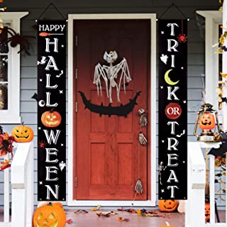 CandyHome Halloween Decorations Outdoor, Trick or Treat Banner Happy Halloween Sign for Front Door or Indoor Home Decor, H...