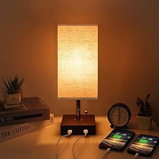 Kakanuo Lampe de chevet USB, lampe de table moderne en bois massif avec 2 ports USB et interrupteur à tirer, abat-jour en ...