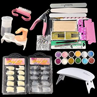 QUICKLYLY Uñas/Manicura-Pro 23 en 1 Simply Nail Art Kits Consejos Líquido Polvo Pluma Dappen Plato Conjunto Buffer Glitter Deco Tools Uñas Herramientas