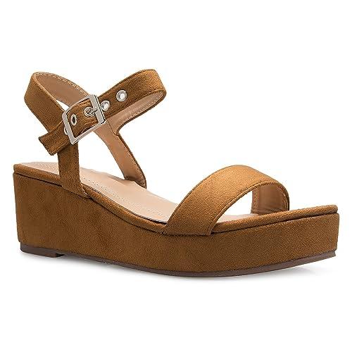 066aa41a8fe OLIVIA K Women s Comfort Espadrille Platform Buckle Sandal - Casual Fashion  Ankle Strap Summer Sandals