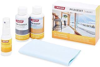 ADLER Pflegeset Smart - Reinigungsmittel, Pflegemittel & Beschlägeöl für lasierend beschichtete Holzfenster & Gartenmöbel - Top-Cleaner 100 ml, Top-Finish 100 ml, Beschlägeöl 20 ml  Reinigungstuch
