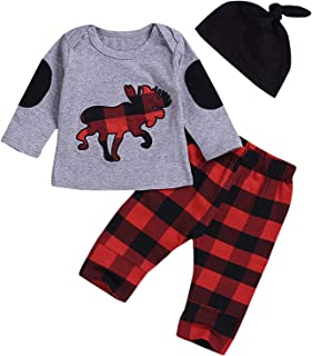 2Pcs Toddler Baby Boy Girl Long Sleeve Outfit T-Shirt Sweater Tops+Long Plaid Pants Fall Winter Clothes Set