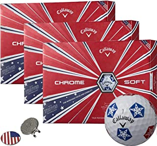 Callaway Golf Chrome Soft Golf Balls (3 Dozens) (Multi Colors) + 1 Custom Ball Marker Clip Set (US Flag)