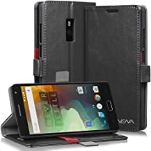 OnePlus 2 Leather Wallet Case - VENA [vFolio] Slim Vintage Genuine Leather Wallet Stand Case with Card Slots for OnePlus Two (Black)