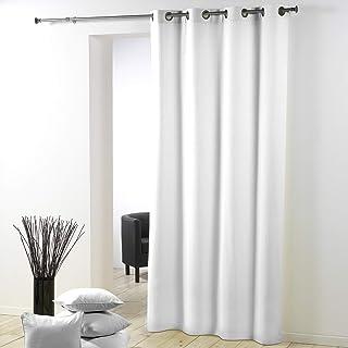 douceur d'intérieur Rideau a Oeillets Metal 140 X 260 Cm Polyester Uni Essentiel Blanc