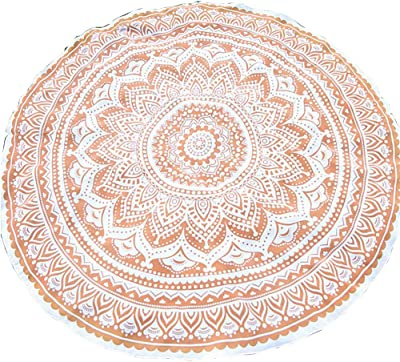Amazon.com: Stylo Culture Bohemian Round Tapestry Blue ...