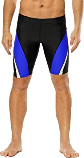 beautyin Men Jammer Athletic Durable Long Swim Shorts Racing Polyester Swimsuit