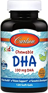 Carlson - Kid's Chewable DHA, 100 mg DHA, Brain Health, Vision Function, Growth & Development, Orange, 120 Chewable Softgels