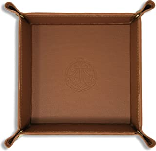SIVEL + SHARP Leather Valet Tray - Embossed Catchall Tray Brass Snaps (Almond)