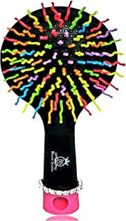 Beaute Secrete Paddle Detangling Hair Brush w/Mirror - Best Kids Knot Detangler, Natural Enhancer, S Curved Bristle Ball Tipped. Professional Styling for Girls Wig, Curly, Wet, Dry, Long & Short Hair