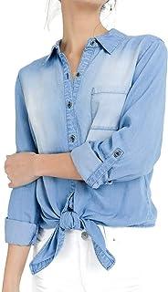 Mirabell Women's Button Down Long Sleeve Roll up Sleeve Chambray Denim Shirts