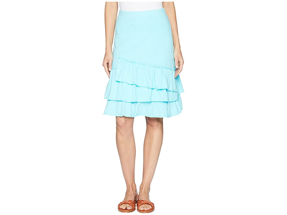 Mod-o-doc Slub Jersey Tiered Asymmetrical Ruffle Skirt (Pacific) Women