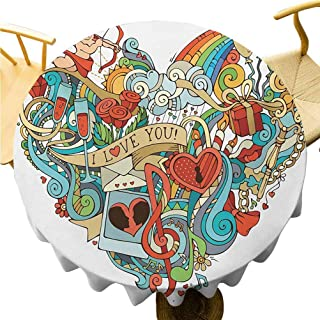 """Zara Henry I Love You Printed Tablecloth Love Valentines with Eros Arrow Present Boxes Swirls Balloons Ring Marry Me Wild Round Tablecloth 36"""" Round Multicolor"""