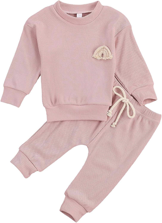 Newborn Baby Boy Girl Ribbed Clothes Set Solid Long Sleeve Tops + Drawstring Waist Pants 2Pcs Fall Winter Outfit