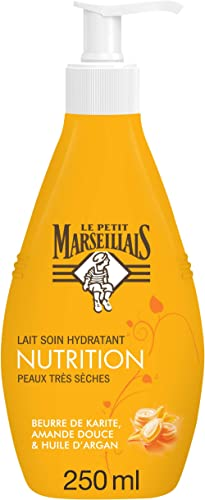 Le Petit Marseillais Lait Corps Hydratant, Nutrition, au Beurre de Karité, Amande et Huile d'Argan, Pour Peaux Très S...