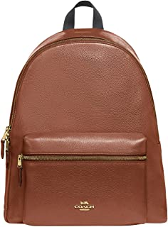 COACH Pebbled Leather Charlie Backpack Saddle 2 One Size