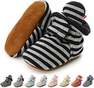 Newborn Baby Boy Girl Soft Fleece Booties Stay On Slippers Socks Shoe Non Skid Gripper Infant Toddler First Walkers Winter Ankle Crib Shoes