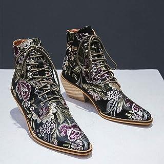 ZLFCRYP Bottes Femme élégante Broder Boot Ethnique Hiver Cheville Lacent Retro Chaussures à Talon