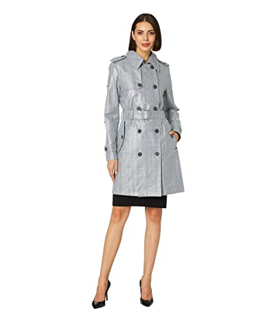 LAUREN Ralph Lauren Laminated Trench Coat (Plaid) Women