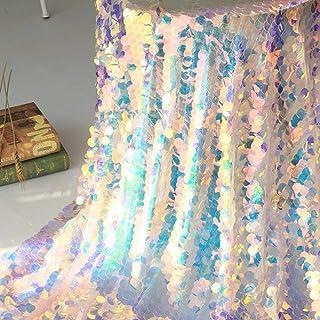 Mantel de lentejuelas iridiscente para fiestas, tela brillante, telón de fondo para bodas, Navidad, baby shower, sirena, unicornio, decoración, 90 x 130 cm