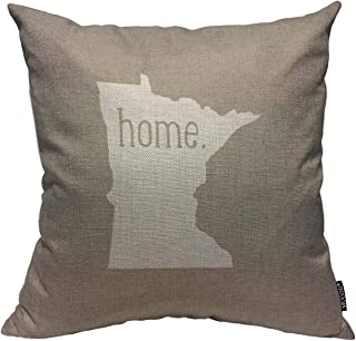 Mugod Throw Pillow Cover Minnesota Home State Home Decorative Square Pillow Case for Men Women Boy Gilrs Bedroom Livingroom Cushion Cover 18x18 Inch,White Beige Pillowcase
