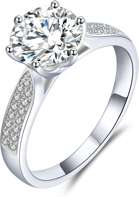 boya Engagement Rings for Women,18K Platinum Moissanite Diamond,2.16 ct D Color VVS1...